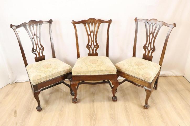 3er Set antike Mahagoni Esszimmerstühle, Chippendale Stil