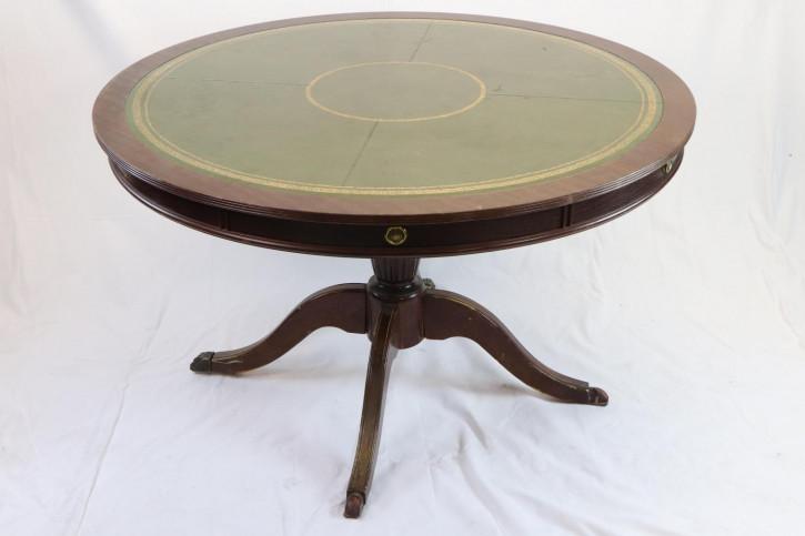Antiker runder Tisch / Library Table mit Schreibfläche aus Leder