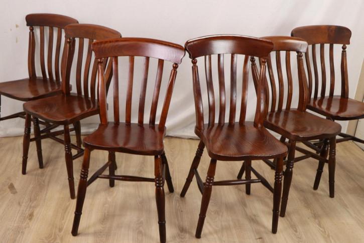 6er Set rustikale Windsor Stühle aus Massivholz, Landhausstil
