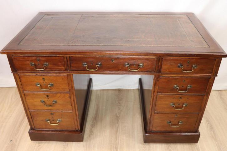 Schöner Pedestal Desk / Schreibtisch mit Ledereinlage