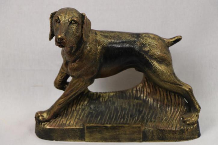 "Vintage Bronzeskulptur mit ""Jagdhund"" Motiv"
