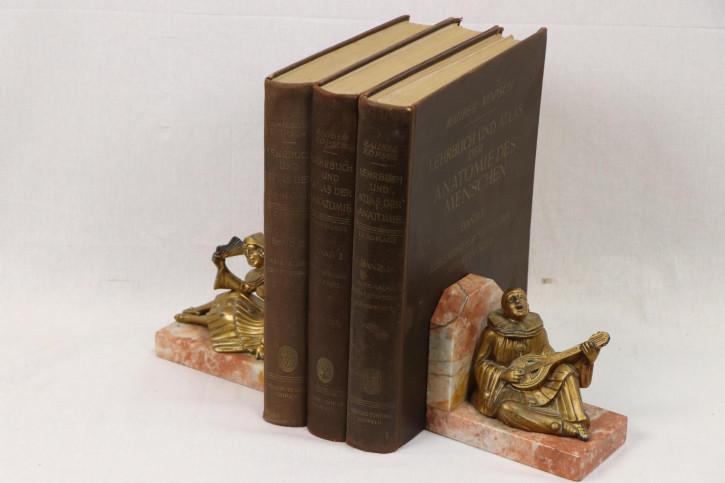 2 Vintage Buchstützen - Bronzefiguren auf marmoriertem Sockel