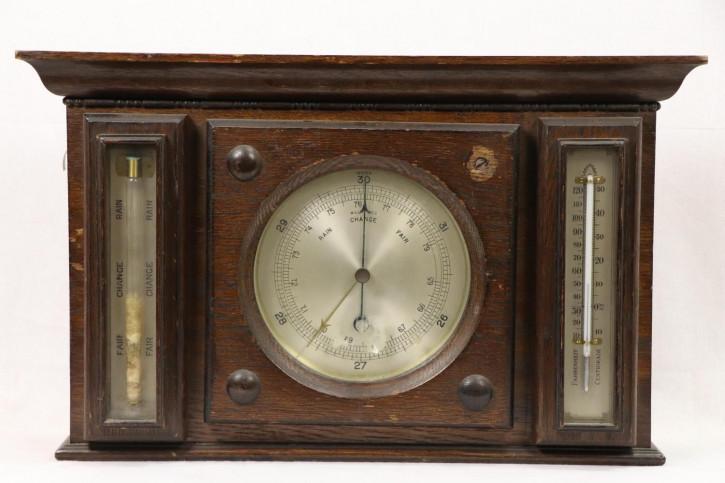 Vintage Wetterstation mit Regenanzeige und Thermometer, englisch