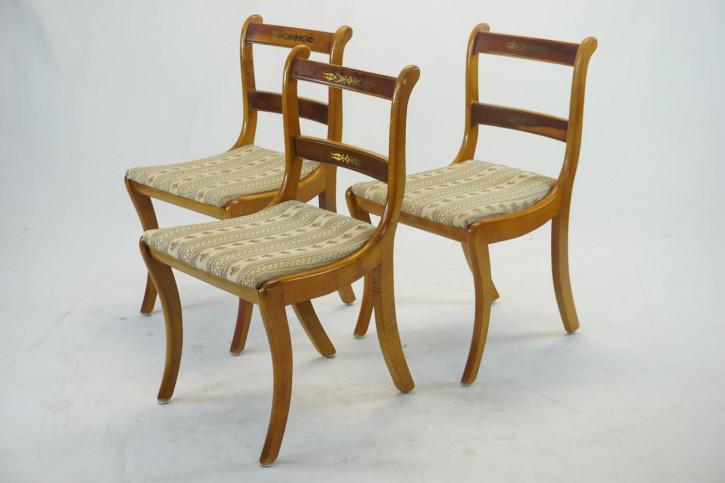 3er Set Esszimmerstühle, Regency Stil