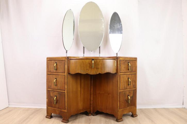 Schöner Vintage Schminktisch mit 3 Spiegeln, Art déco Stil