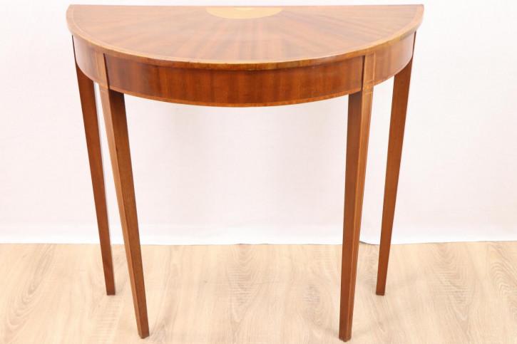 Halbrunder Beistelltisch / Side Table mit schönen Intarsien