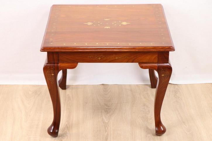 Schöner kleiner Beistelltisch mit Intarsien/Verzierungen  aus Messing  - original antiker Tisch