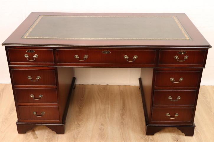 Edler Pedestal Desk mit Ledereinlage