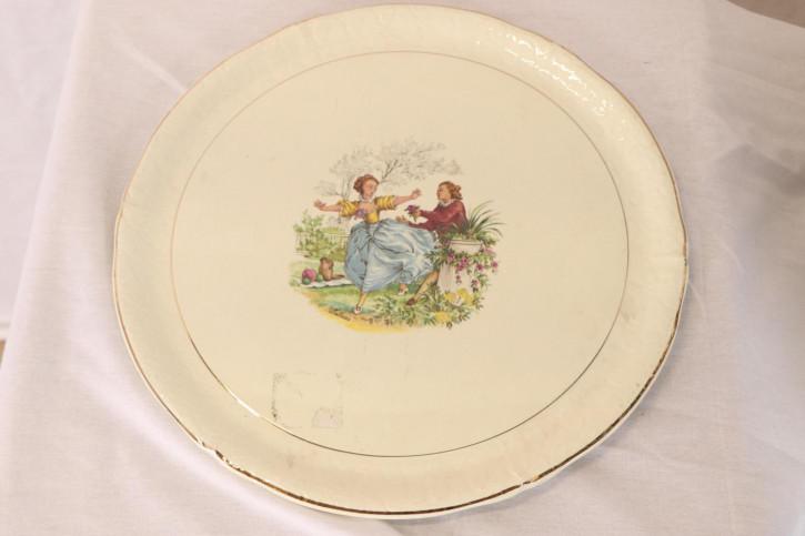 Schöner Vintage Teller aus Keramik mit gemaltem Motiv, französisch