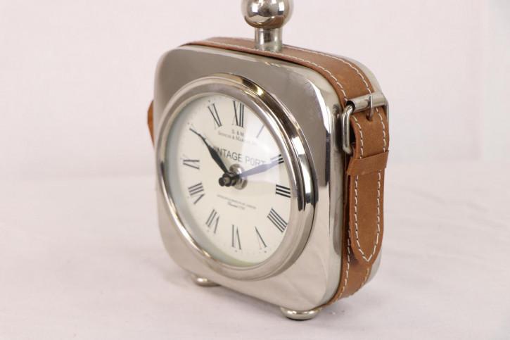Kleine Vintage Uhr aus Metall mit Lederband, englisch