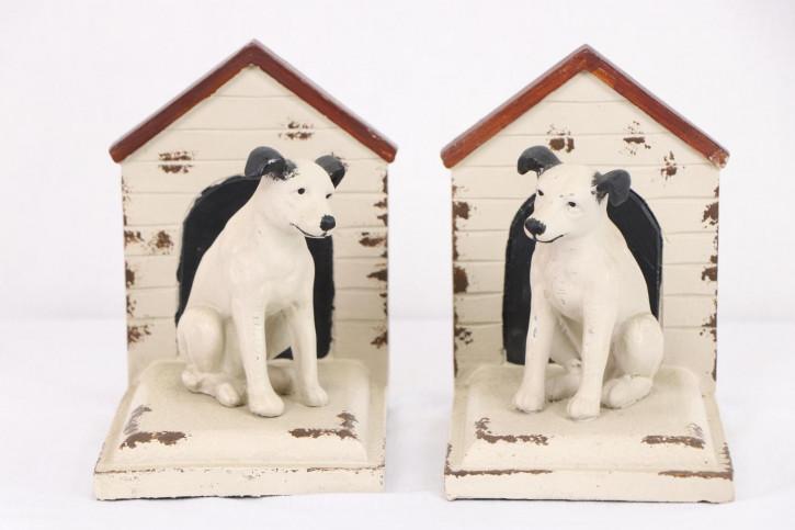 Schöne Vintage Buchstützen mit Hundemotiv-