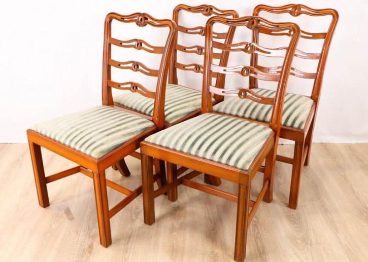 4er Set gut erhaltene Eiben Stühle mit Sitzpolster aus England