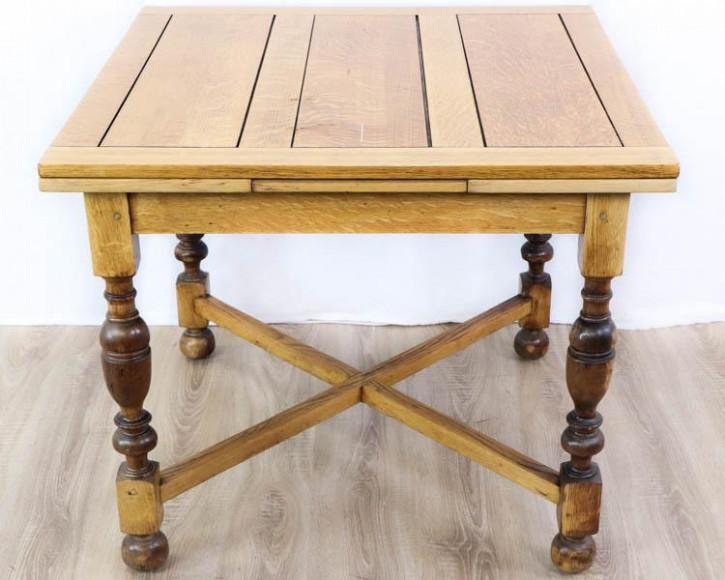 Landhaus Kaffeehaus Tisch aus Eiche, ausziehbar