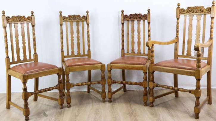 3+1 Set klassische Country Dining Chairs aus Eiche