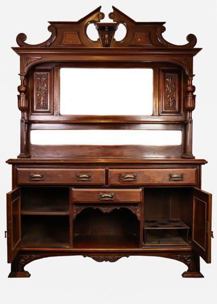 Seltener antiker Dresser / antikes Sideboard mit Spiegelaufsatz, ca. 1860
