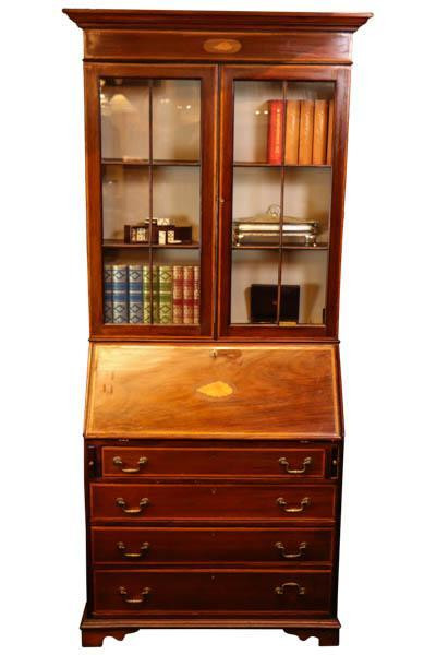 Klassischer antiker Aufsatzsekretär / Bureau Bookcase aus Mahagoni, ca. 1900