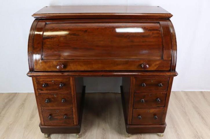 Antiker Zylinder Schreibtisch aus England, ca. 1860