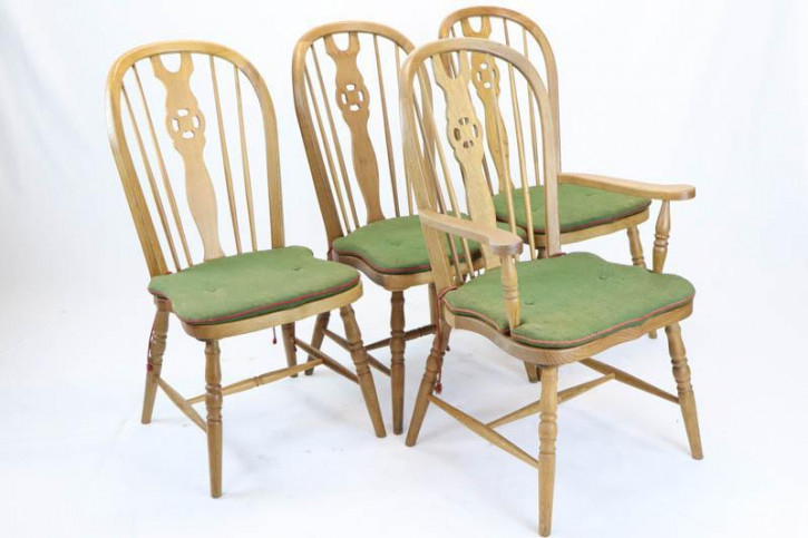 3+1 Set antike Windsor Chairs, Eiche, ca. 1920