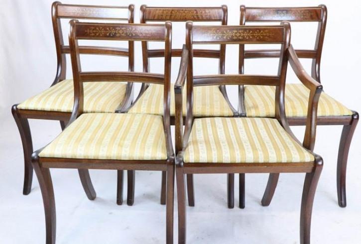 4+1 Set Mahagoni Stühle, Regency Style