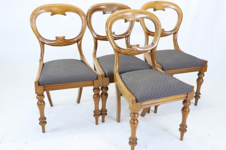 4er Set antike Balloon Back Chairs, Mahagoni, ca. 1870