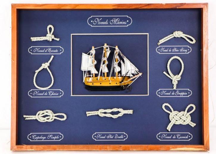 Vintage Knotentafel mit Schiffmodell, französisch