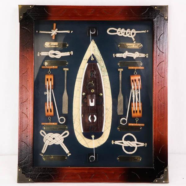 Englische Knotentafel mit weiteren nautischen Objekten, Vintage