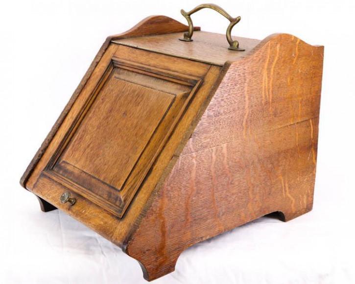 Antiker Kohlekasten aus England, Eiche, ca. 1860