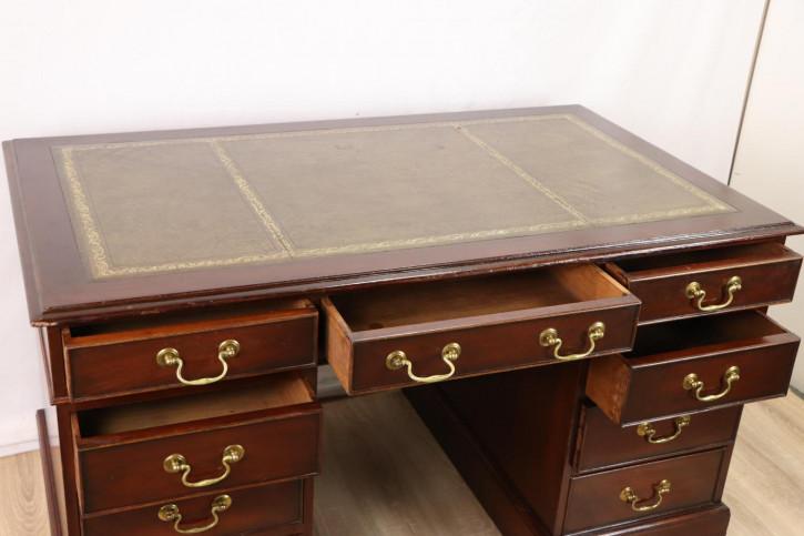 Massivholz Pedestal Desk / Schreibtisch mit Ledereinlage