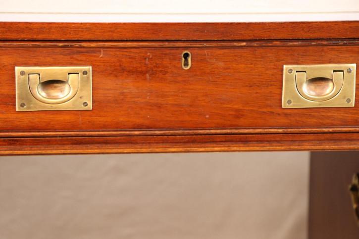 Maritimer Pedestal Desk / Schreibtisch mit Ledereinlage