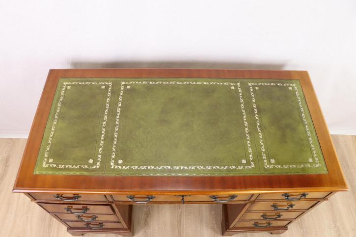 Hübscher Pedestal Desk / Säulenschreibtisch mit Ledereinlage