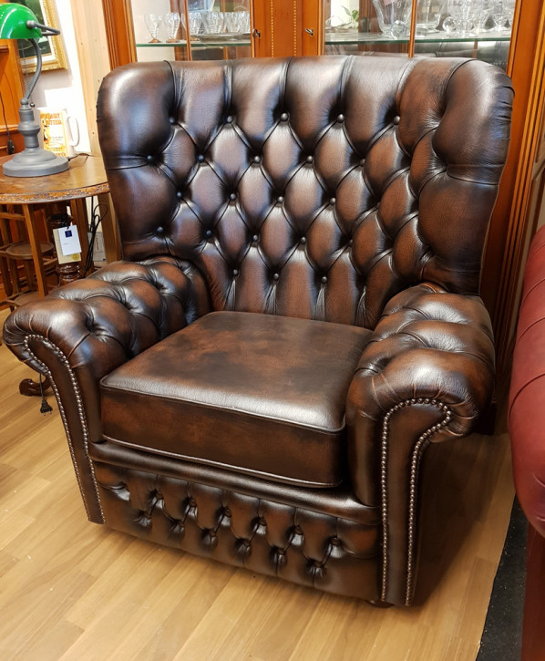 "Chesterfield Ohrensessel ""Wales"" in Birch antique Tan Sofort Lieferbar"