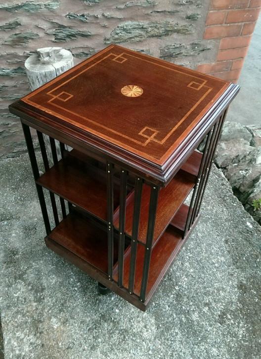 Antikes Revolwing Bücherregal Edwardian Inlaid Bookcase