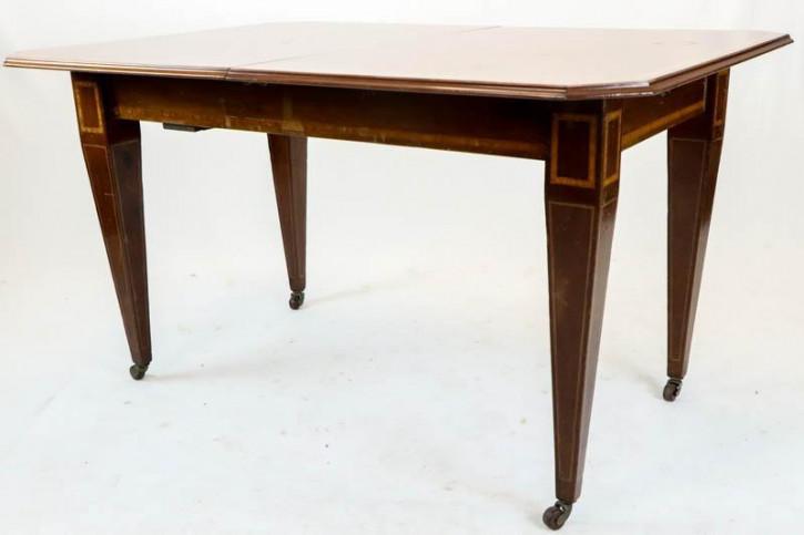 Antiker ausziehbarer Esstisch, 2 extra Tischplatten, Mahagoni, ca. 1890