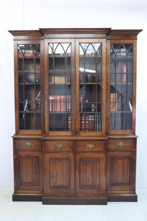 Antiker Breakfront Bücherschrank im gotischen Stil, Eiche, ca. 1900