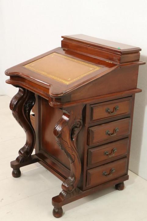 Antiker Davenport Desk mit filigranen Schnitzarbeiten, Mahagoni, ca. 19. Jahrhundert