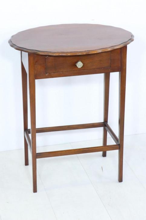 Antiker ovaler Telefontisch mit Schublade, Mahagoni, ca. 19. Jh.