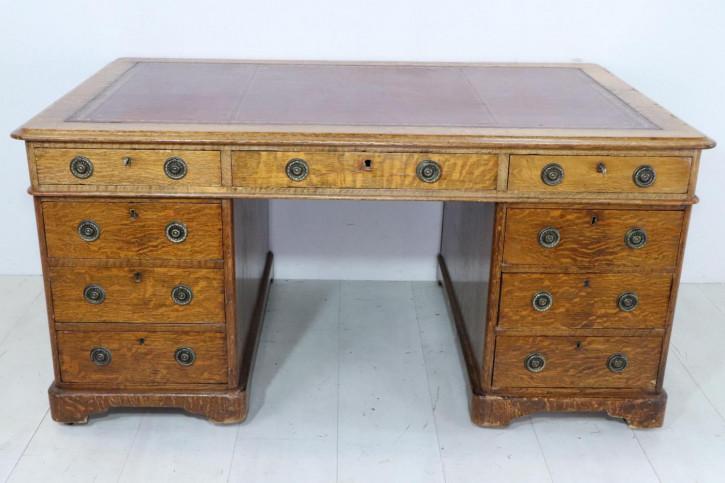 Antiker Partners Desk aus massiver Eiche, rotes Leder, ca. 19. Jahrhundert