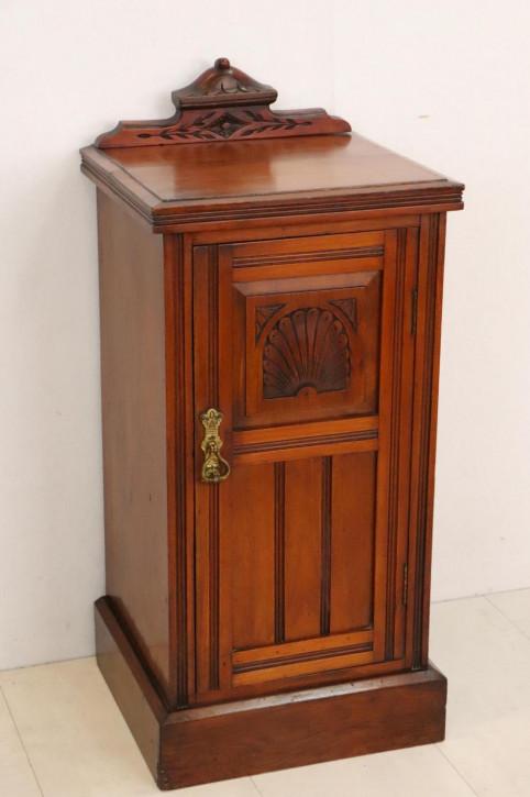 Antikes Bedside Cabinet mit Schnitzarbeiten, Mahagoni, ca. 1900