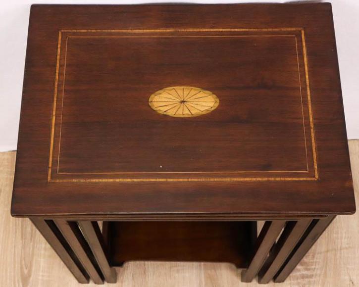 Antikes Nest of Tables, Mahagoni, feine Intarsien, ca. 1910