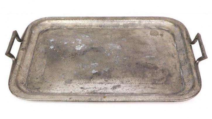 Antikes Silberfarbenes Tablett von Lloyd, Payne & Amiel aus Manchester, England