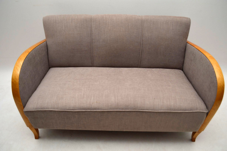 Schwedisches Art Déco Satin Birch Polstersofa