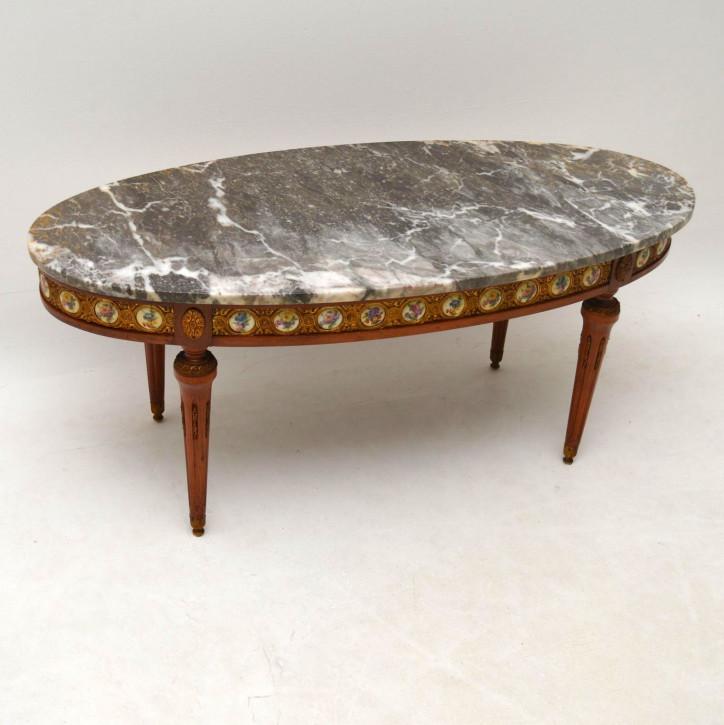 Antiker französischer Marmor Couchtisch