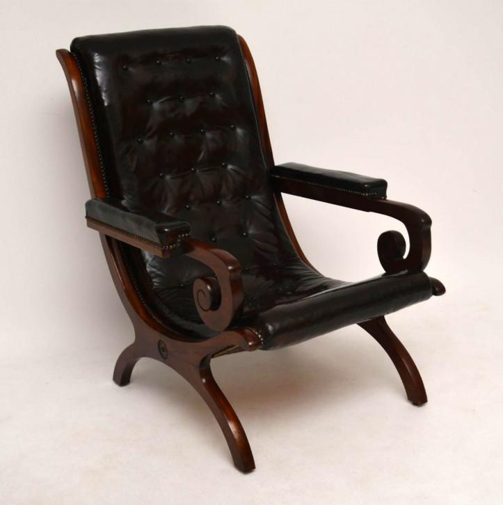 Antiker Leder & Mahagoni Sessel Fernsehsessel schwarzes Leder