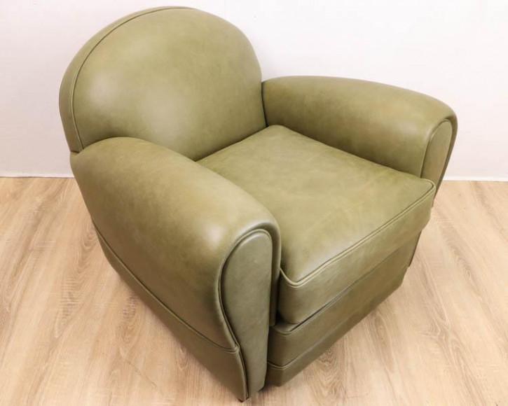Art Deco Stil Clubsessel aus Leder (Rind), grün, Premium Leder
