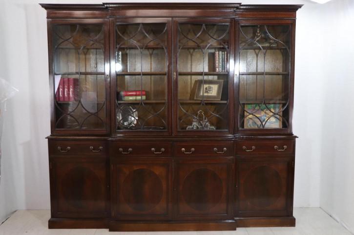 Außergewöhnliches Breakfront Bookcase mit interessanten Intarsien, in Mahagoni