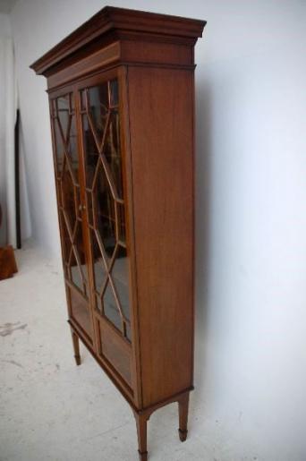Antiker Edwardian Mahagoni Bücherschrank mit Intarsien