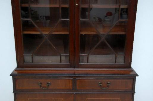 Antikes  im  georgianischen Stil Intarsien Mahagoni  Bookcase