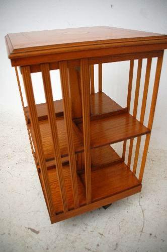 Revolwing Bookcase Drehbarer Bücherständer  Satin Wood  sehr selten