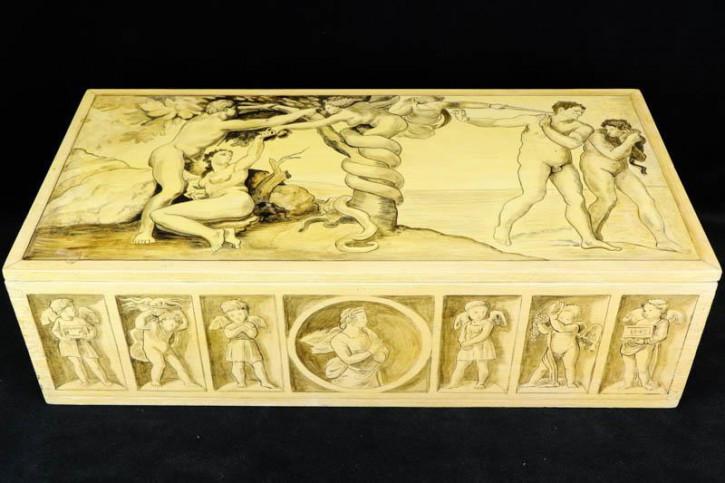 Bemalte Holzschachtel mit Paradies Motiv, Adam und Eva, Religiöse Antike Holzbox