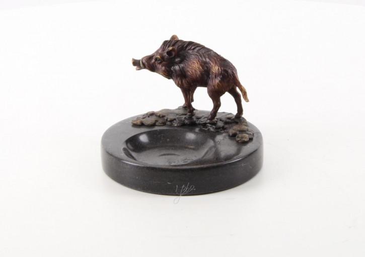 Marmor Aschenbecher mit Bronze Wildschwein 9,2xØ12,8cm